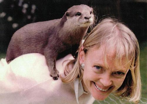 Sophie Neville with her tame Otter