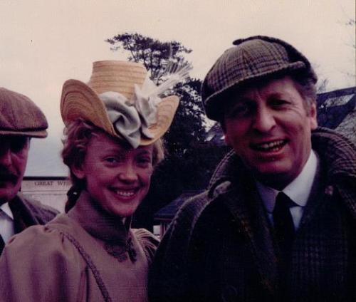 Sophie Neville with Tom Baker as Sherlock Holmes