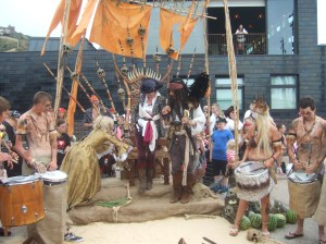 Announcing the film to the pirates of Hastings