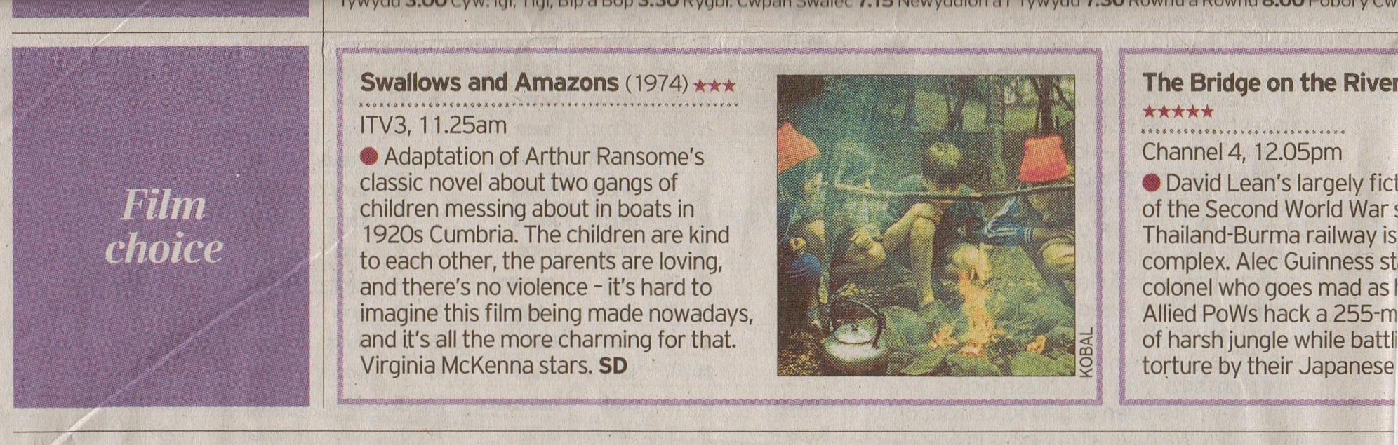'Swallows and Amazons' broadcast on ITV3