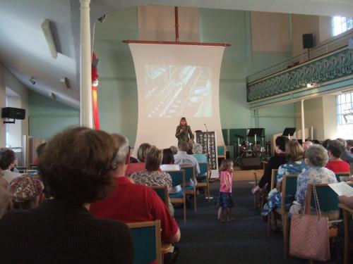 Volunteer speaker Sophie Neville talks on behalf of the Bible Society