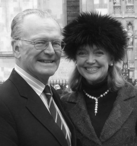 Sophie Neville with her husband outside Westminster Abbey