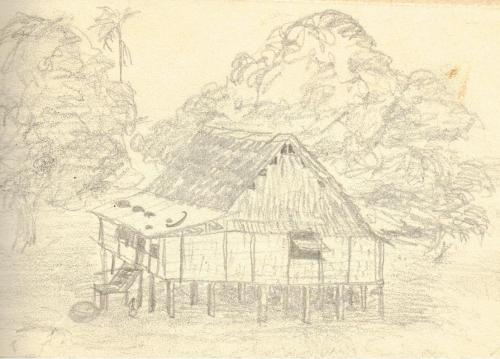 The guest house where we stayed in Kar-Kar and island off Papua New Guinea