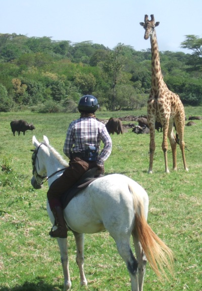 Sophie riding in Arusha Nat Park