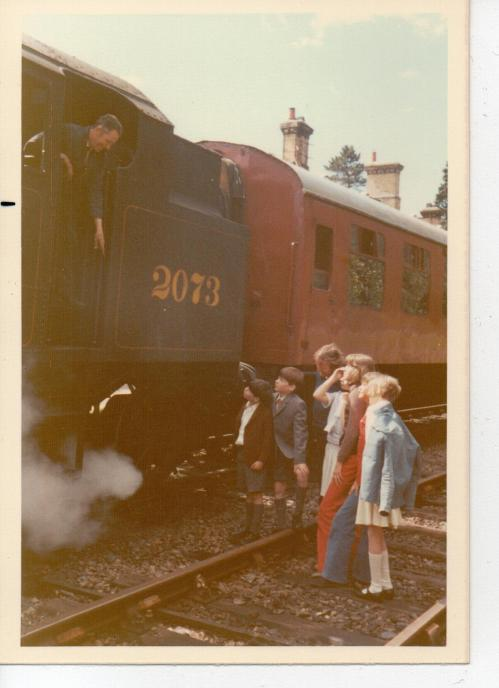 Talking to the engine driver at the Haverthwaite Railway Station on the first day of filming 'Swallows and Amazons' in 1973  (Photo: Daphne Neville)