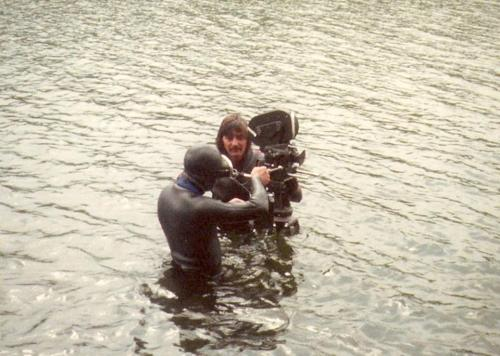 Filming the swimming scene