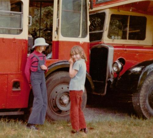 Sophie Neville outside the school bus with her sister Tamzin Neville ~ photo: Martin Neville