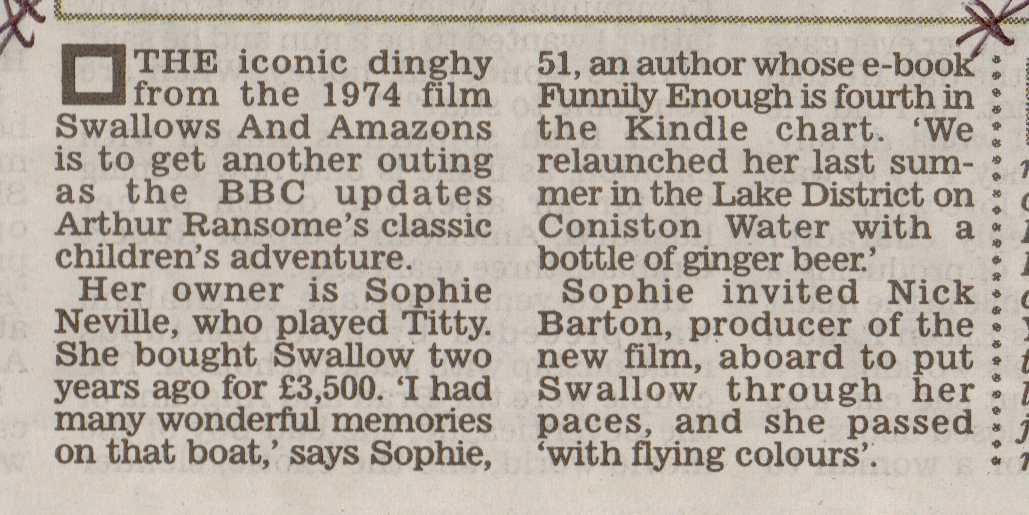 Bestselling Author Sophie Neville's write-up on Richard Kay's page in Daily Mail