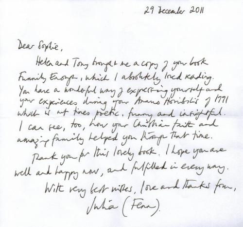 Julia Fenn's letter to Sophie Neville about 'Funnily Enough'