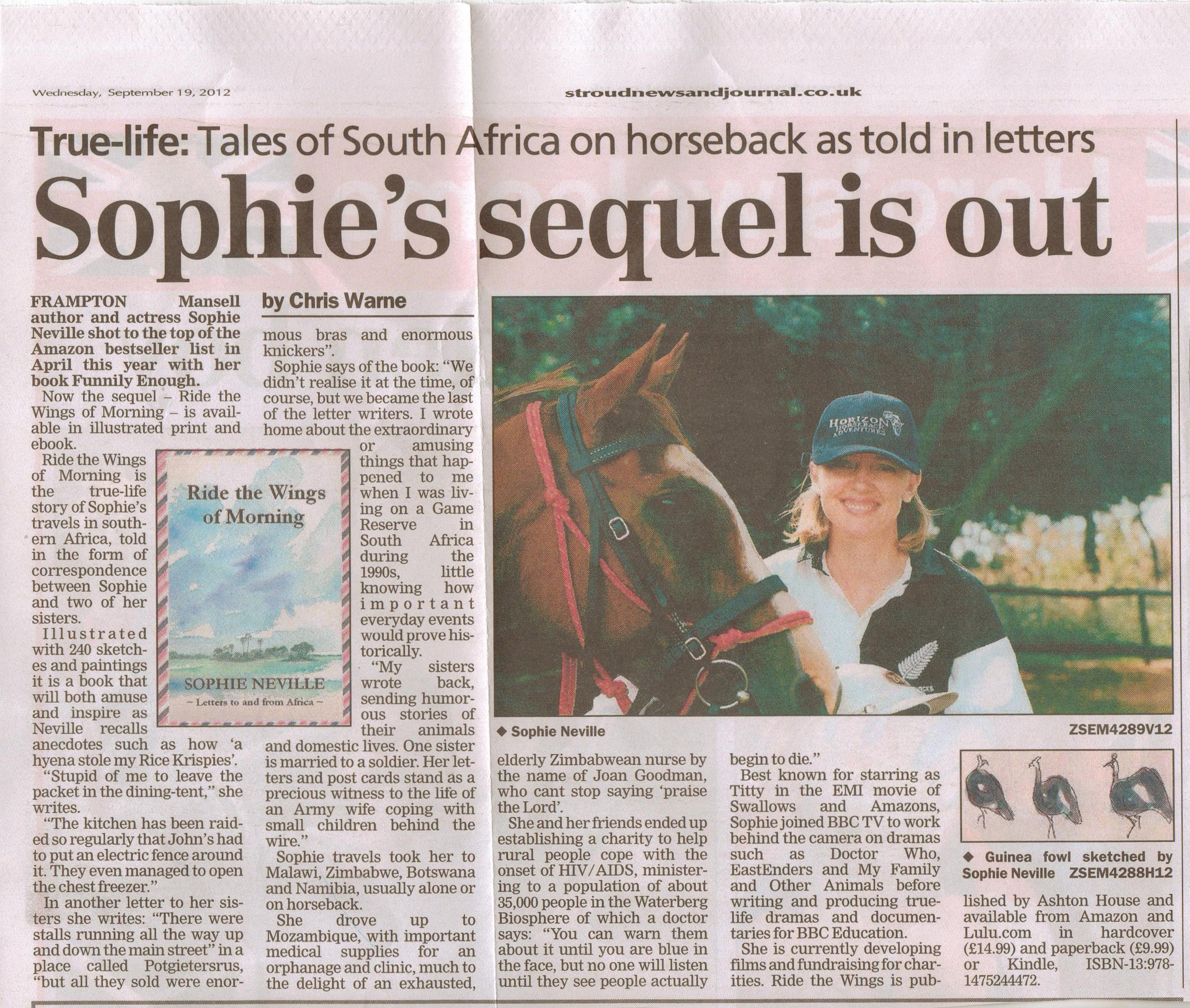 A book review of 'Ride the Wings of Morning' by Sophie Neville