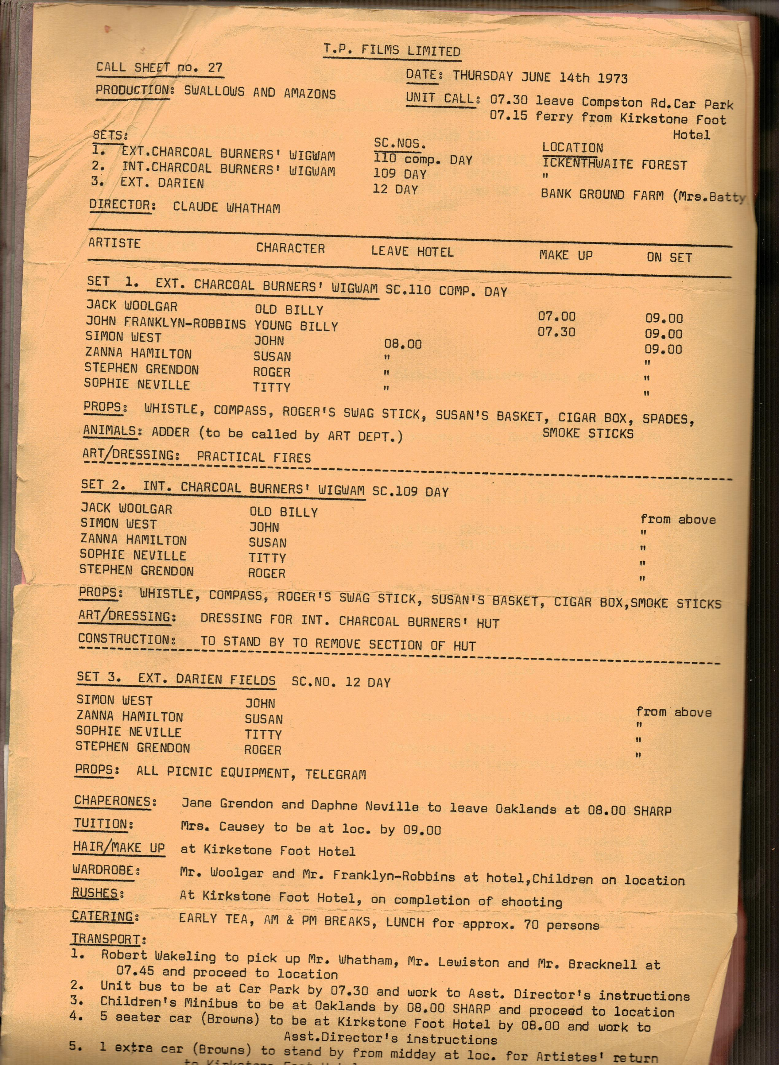 Charcoal Burners Movie Call Sheet ~ Swallows and Amazons