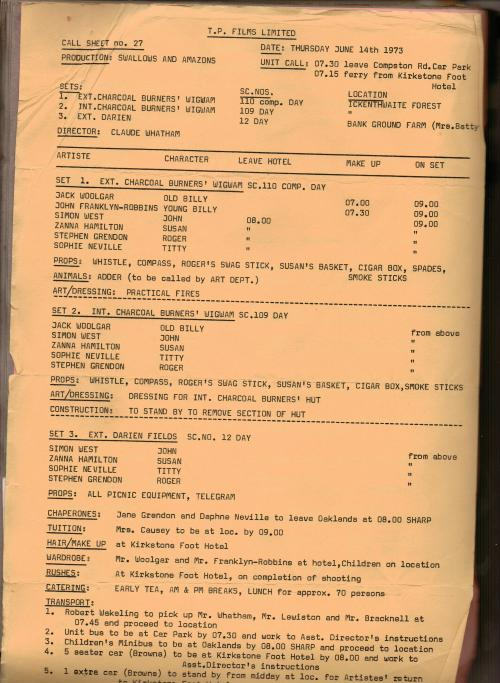 A daily Call Sheet for the movie Swallows and Amazons