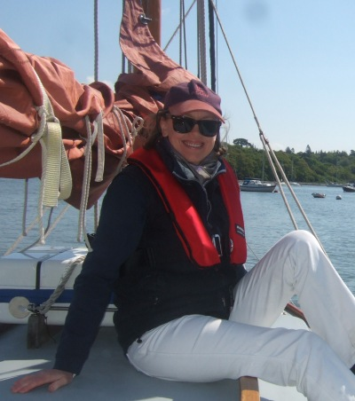 Sophie Neville aboard the Nancy Blackett at Buckler's Hard