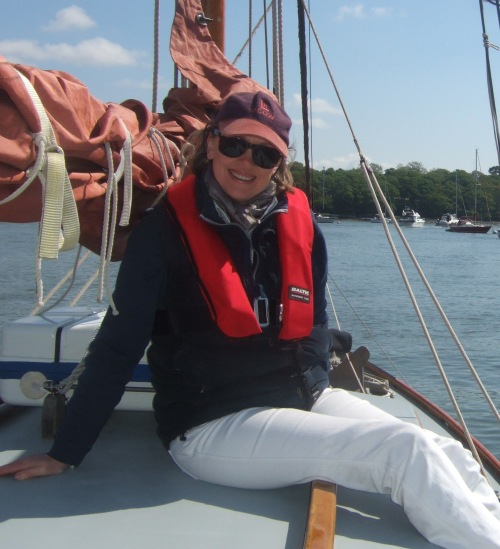 Sophie Neville aboard the Nancy Blackett at Buckler's Hard