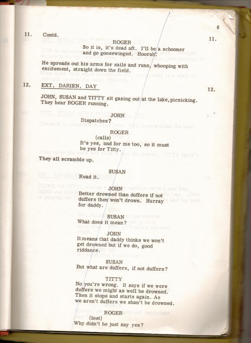David Wood's screenplay  of 'Swallows and Amazons'