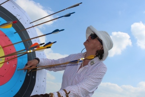 Sophie Neville at the archery