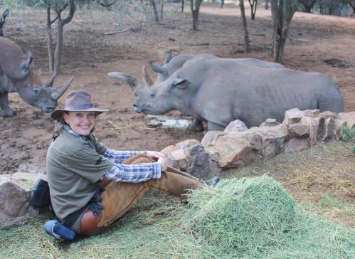 Sophie Neville meeting several rhino