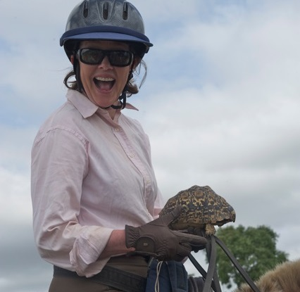 Sophie Neville with tortoise by Tanya Baber