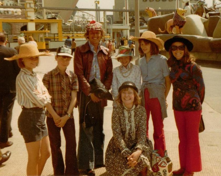 A Day Off in Blackpool - Suzanna Hamliton, Simon West, Claude Whatham Sophie Neville, Kit Seymour, Jean McGill with Daphne Neville kneeling at Blackpool funfair in 1973
