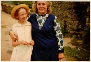 Sophie Neville with Lucy Batty at Bank Ground Farm, Westmorland in 1973 ~ photo: Daphne Neville