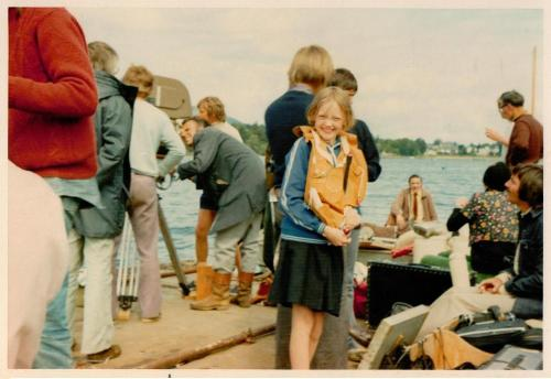 Sophie Neville on the pontoon during the filming of 'Swallows and Amazons'