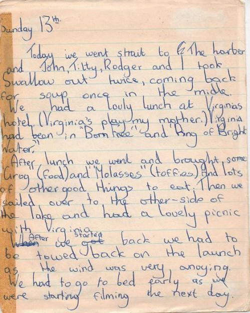 Suzanna Hamilton's Diary prior to the fiming of 'Swallows and Amazons'