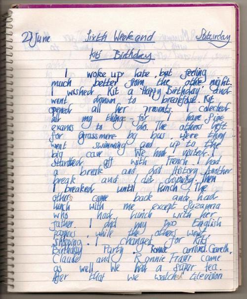 23rd June - my diary