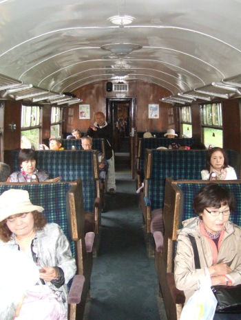 Inside the carridge of the Lakeside and Haverthwaite train