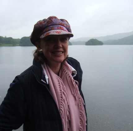 Sophie Neville on Coniston Water with Peel Island