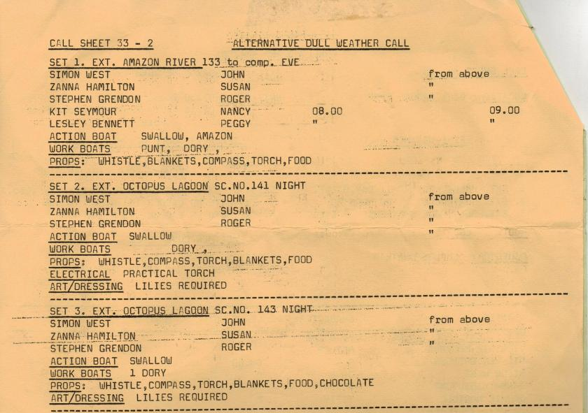 Call Sheet for Octopus Lagoon filming Swallows and Amazons in 1973