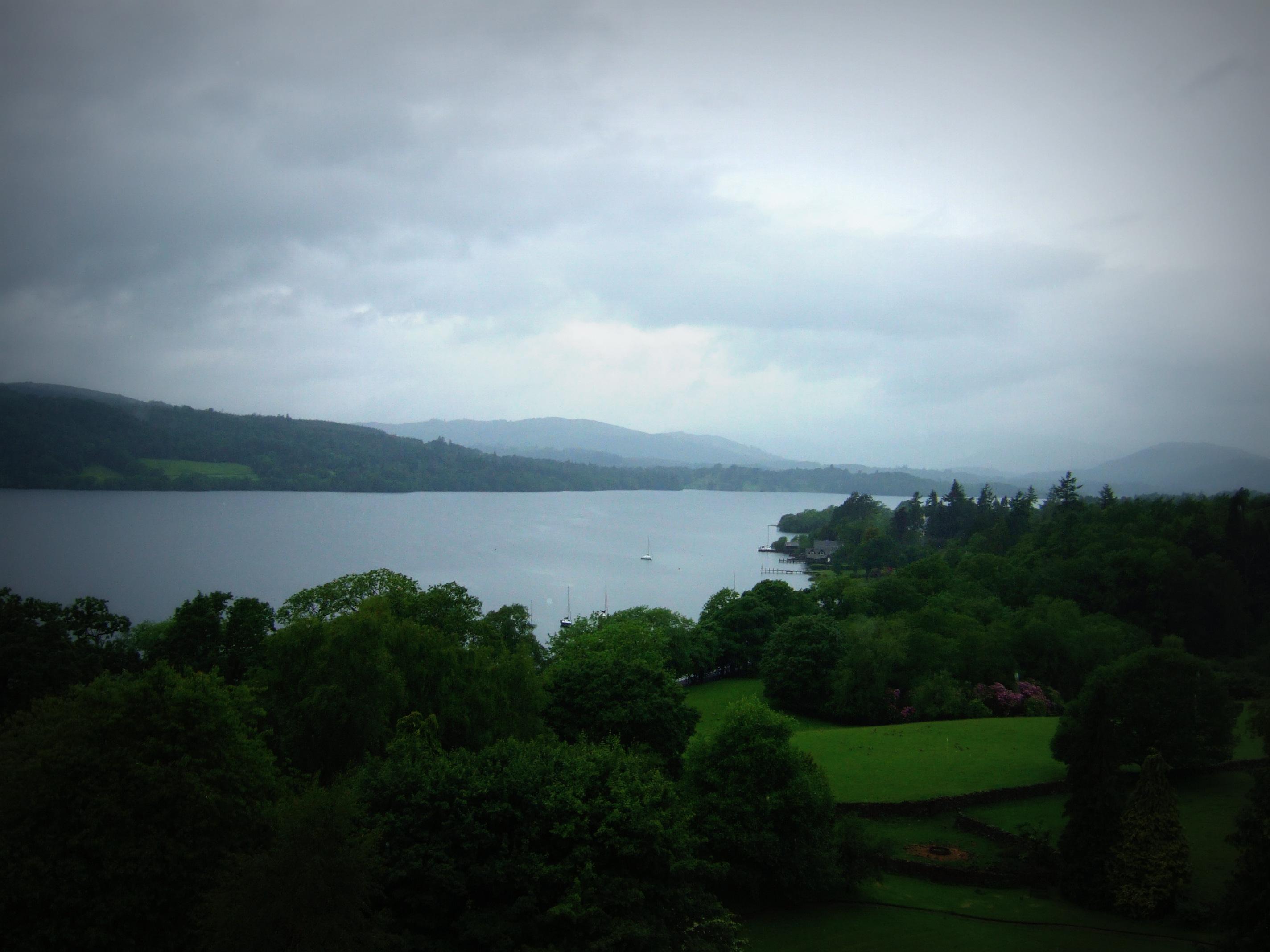 A dull weather call: Rain clouds over Windermere in the Lake District, Cumbria