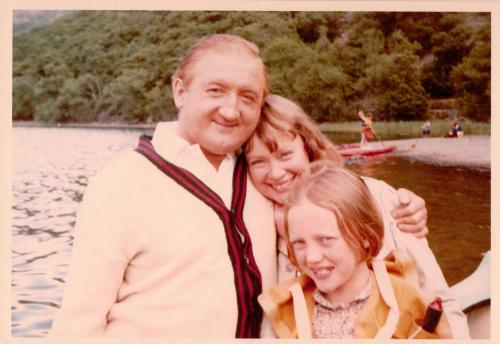 Ronald Fraser as Captain Flint with Daphne Neville and Sophie Neville playing Titty Walker on Derwentwater in 1973