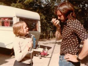 Sophie Neville with Terry Needham and the unit radio at Derwentwater ~ photo: Daphne Neville
