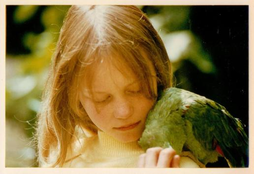Tamzin Neville with our parrot Chico
