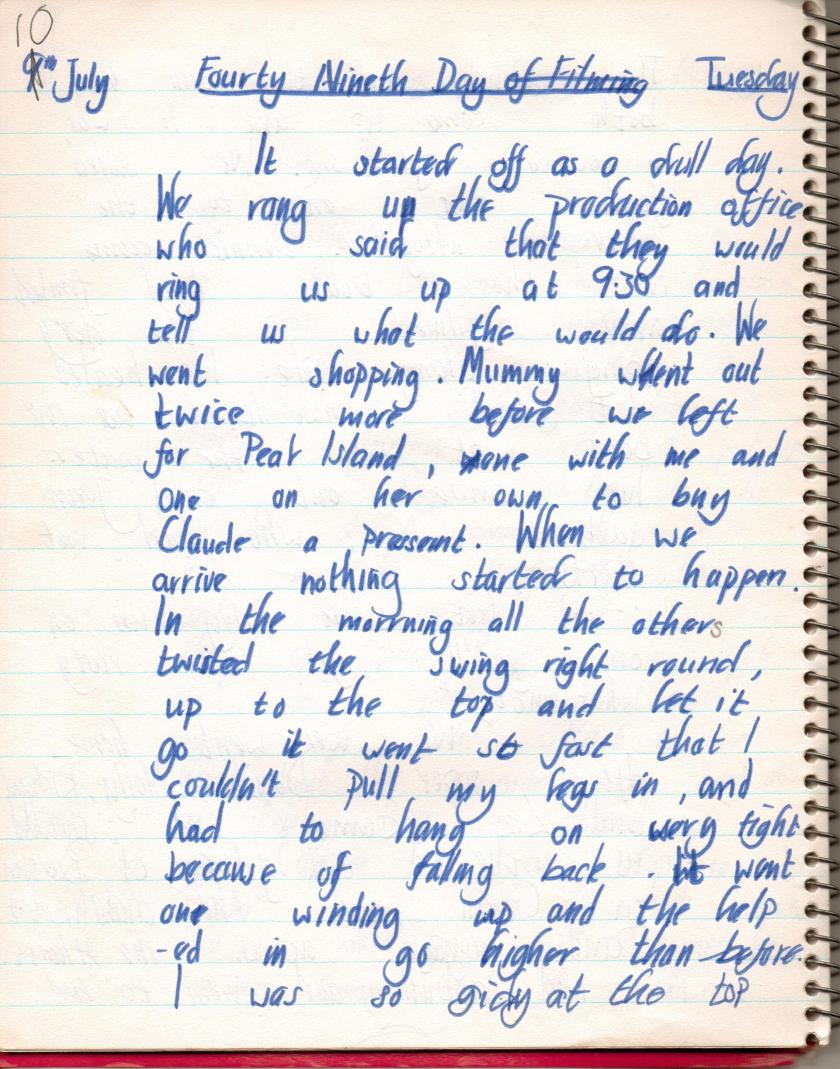 My diary on the filming of the moive 'Swallows and Amazaons' in the Lake District, Cumbria kept in 1973