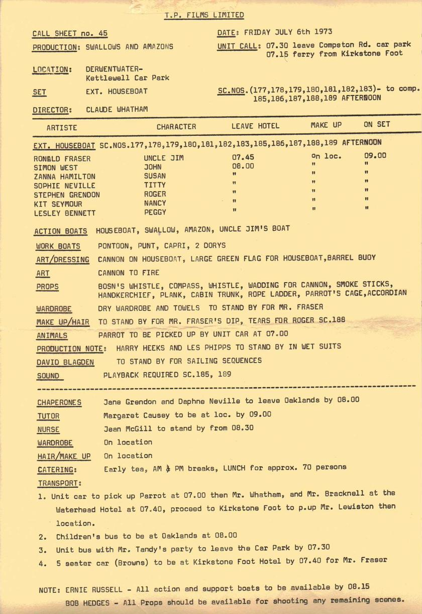 Unit Call Sheet for Movie shot on location in the English Lake District