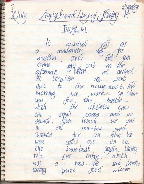 Diary of a young girl on a film set kept in 1973