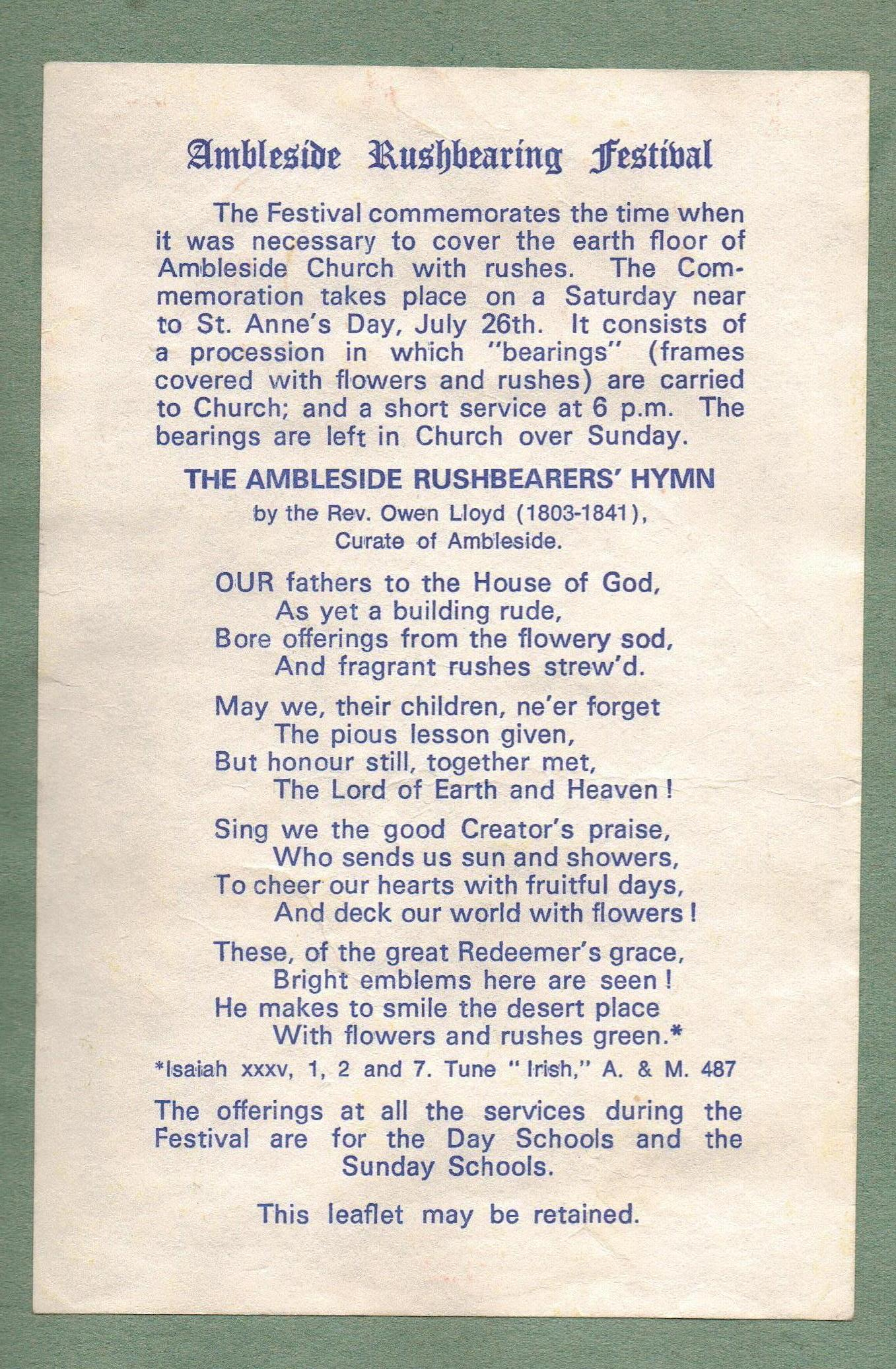 St Mary's Church Ambleside Rush Bearers' Hymn