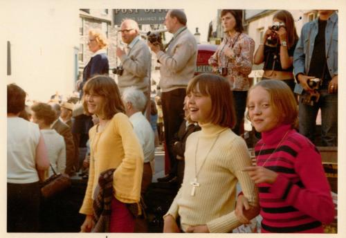 Kit Seymour, Lesley Bennett and Sophie Neville at the Ambleside Rushbearing Festival in July 1973
