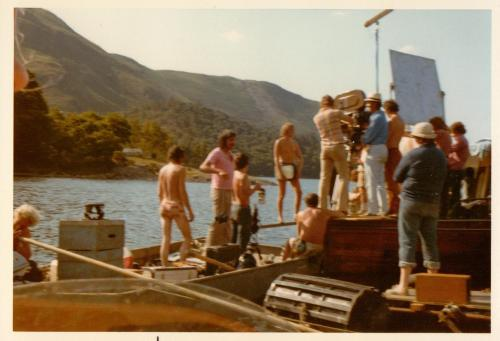 Battle of Houseboat Bay ~ The film crew record Captin Flint walking the plank