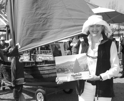 Sophie Neville with Swallow outside the Bluebird Cafe on Coniston Water