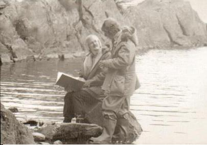 Richard Pilbrow and Claude Whatham at The Secret Harbour on Peel Island, Coniston Water