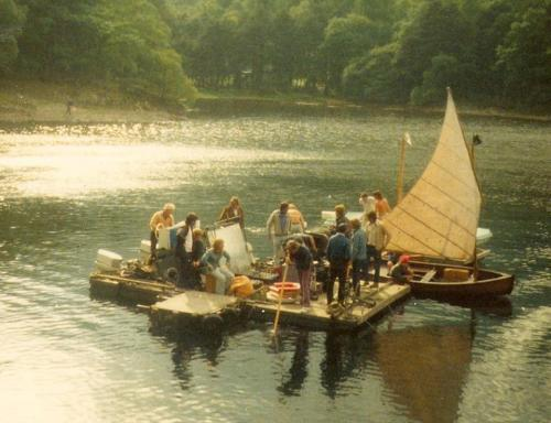 The crew as I remember them filming with Swallow and Amazon from the pontoon ~ photo: Richard Pilbrow
