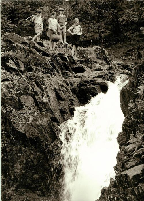 Black and White photograph of a waterfall in the Lake District