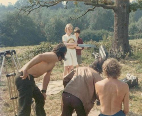 Sophie Neville playing Titty Walker with Stephen Grendon as Roger Walker with Gordon Hayman, Denis Lewiston and Claude Whatham behind the camera