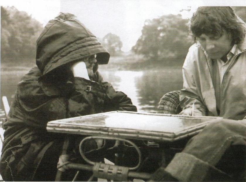 Producer Richard Pilbrow with Neville C Thompson on Derwentwater in the Lake District in 1973