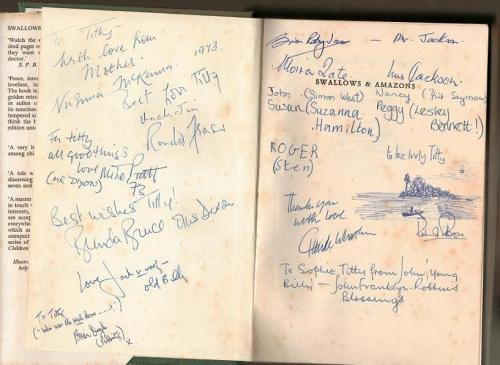 Signatures of the cast, director and producer of the movie 'Swallows and Amazons' in my hardback copy of Arthur Ransome's book