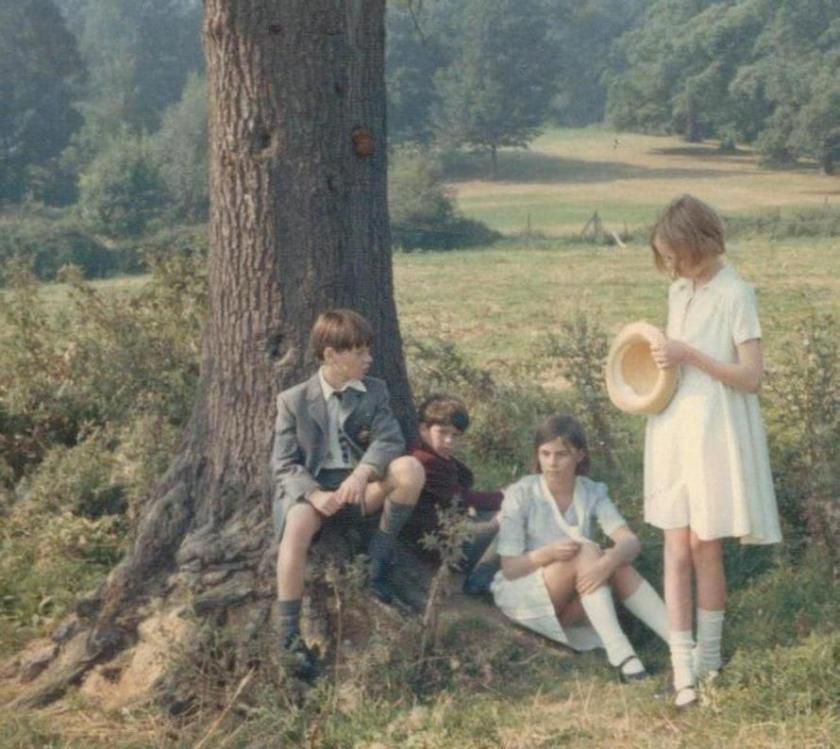 Simon West, Stephen Grendon, Suzanna Hamilton and Sophie Neville as the Walker children dressed as they arrived at Holly Howe at the start of their holiday in the Lake District
