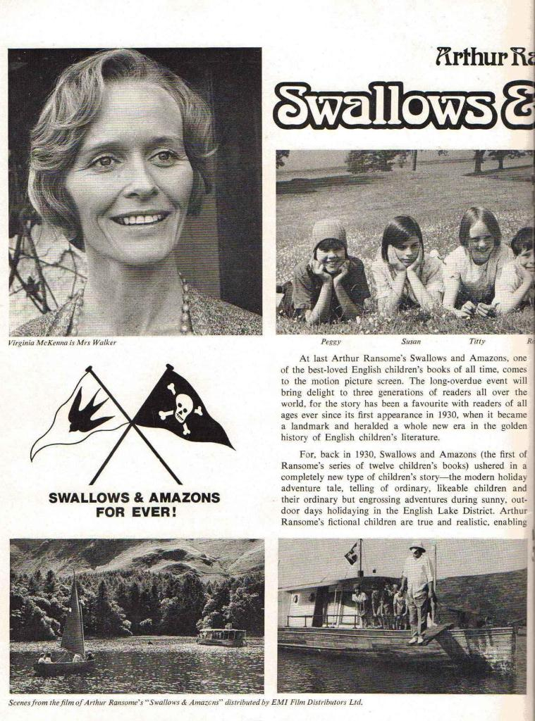 Virginia McKenna, Lesley Bennett, Suzanna Hamilton, Sophie Neville, Stephen Grendon and Ronald Fraser appearing in the centre pages of the film premier programme