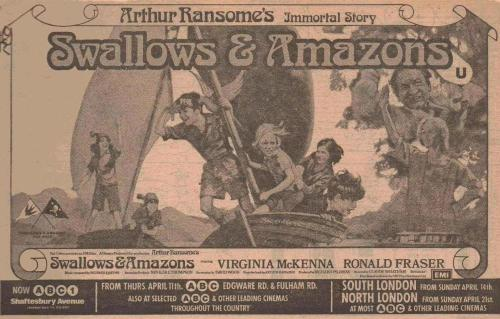 Kit Seymour, Lesley Bennett, Simon West, Sophie Neville, Stephen Grendon, Ronald Fraser and Virginia McKenna on the Newspaper advertisment for 'Swallows and Amazons' released in Apirl 1974